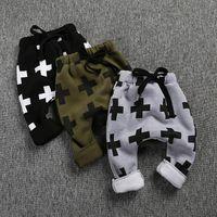 Wholesale Cheap Cross Clothing - Kids pant trousers Winter fleece warm Boys Cross Harem Pants String Ins boys Children clothes 2016 wholesale cheap