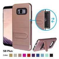 Wholesale Pc Card Manufacturers - China manufacturer fashion korean tpu & pc phone case card holder metal texture double cell phone case for S8 PLUS