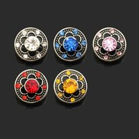 Wholesale 12mm buttons red - Hot sale Interchangeable Flower 021 Rhinestones Metal Snap Buttons Fit 12mm Snap button bracelets Earrings necklace For women