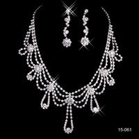 Wholesale Trendy Casual Necklace - 2016 New Jewelry Necklace Earring Set Cheap Wedding Bridal Prom Cocktail Evening Dresses Rhinestone 15-061 In Stock Free Shipping