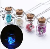 bouteilles à jarret achat en gros de-Europe et les États-Unis plage rose rose mode dérive bouteille pendentifs lanternes verre pot collier bijoux des femmes J001