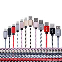 Wholesale S3 Mini Gold - Wholesale 1M Braided USB Mobile Phone Charger Cables For Samsung Galaxy S3 S4 mini HTC One X 3FT Fabric Nylon Micro Data Sync Cord