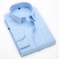 Wholesale Asian Dress Xl - Wholesale- Men's Shirt Long-sleeved Solid Mens Dress Shirts Slim Fit Cotton Camisa Masculina Asian Plus Size M-6XL Shirt Men 6 Colors