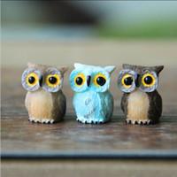 ingrosso gnomi in miniatura da giardino-Artificiale Mini Carino Gufo Uccelli Bambole Fata Giardino Miniature Gnome Moss Terrario Decor Resina Artigianato Bonsai Home Decor per DIY