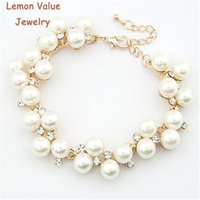 Wholesale Pearls Value - Lemon Value New Fashion Bijoux Luxury Charms Imitation Pearl Rhinestone Crystal Beads Bracelet Women Jewelry Femme Pulseras D032