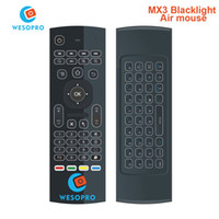 Wholesale wireless mouse for htpc - Wholesale- WESOPRO MX3 Backlight 2.4G Wireless Remote Control Keyboard Controller Air Mouse for Smart TV Android TV box mini PC HTPC black