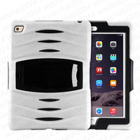 Wholesale ipad case cover stand for sale - 50PCS in Robot Hybrid Heavy Duty Dust Shock wave PC Silicon with stand Holder Case Cover for iPad Air free DHL