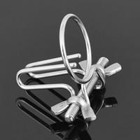 Wholesale male urethral stretching ring - Stainless Glans Penis Ring Urethral Dilator Metal Cockring Catheter Piercing Male Sounding Rod Gay Urethra Stretching BDSM Set