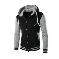 Wholesale Stylish Casual Jacket Men Brands - Wholesale- New Hooded Baseball Jacket Men 2016 Slim Hoodie Warm Mens Slim Fit Varsity Jacket Brand Stylish College Jacekt Veste Homme