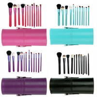 Wholesale Wholesale Professional Makeup Brush Holder - 12pcs Makeup Brush Set+Cup Holder Professional Cosmetic Brushes set With Cylinder Cup Holder DHL Free JJD2213