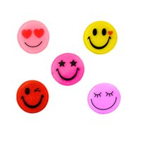 Wholesale Round Resin Cabochons - 30Pcs 30mm Round Mixed Glitter Smile Emoji Resin Cabochons Planar Craft Jewelry Accessories Kids Party Deocrative GIFT Embellishment