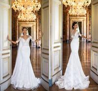 Wholesale Dress Embellishments - 2017 Milla Nova Lace Wedding Dresses Mermaid Sheer Neck Heavy Embellishment Illusion Bodice Half Sleeves Court Train Vintage Bridal Gowns