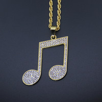 Wholesale Music Symbol Pendant - Bling Bling 18k Gold Color Hip Hop Crystal Music Symbol Pendant Necklace Men Women Iced Out Jewelry