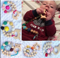 Wholesale wood clip baby - Baby Infant Rainbow wood beads Teethers toddler Soothers baby Anti-off chain Teether Pacifier Clip Gifts KKA3595