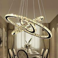 luces colgantes de araña de cristal redondo moderno al por mayor-Moderno DIY K9 Crystal Chandelier LED Circel Colgante Iluminación 3/2 Anillos Lámpara Colgante Lustre Araña de Cocina de Acero Inoxidable