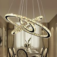 ingrosso ha condotto le luci di cristallo intorno a pendente-Moderno lampadario in cristallo fai da te K9 LED rotondo Circel illuminazione a sospensione 3/2 anelli lampada a sospensione Lustre acciaio inox Lampadario da cucina