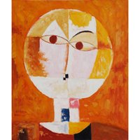 Wholesale Canvas Scrolls - Head of Man, Going Senile, c. by Paul Klee Oil Painting abstract art High quality Hand painted