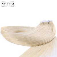 Wholesale New Remy Tape Hair Extensions - Neitsi New Arrival 20'' 20Pcs Mini Heart Shape Tape in Human Hair Extensions Stright Remy Skin Weft Extensions Blonde# 613#