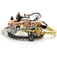 ingrosso fascini in ottone braccialetto-Braccialetto da uomo con ciondolo intrecciato a corona in oro chiaro 6mm perline all'ingrosso in ottone di alta qualità gioielli regalo