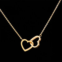 Wholesale Double Chain Necklace Gold - Wholesale 10pcs lot Fashion Stainless Steel Jewelry Pendant Double Hearts Necklace Gold Chains Choker Necklaces For Women Wedding Jewellery