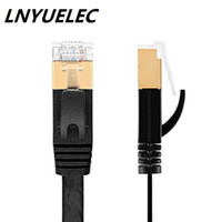 Wholesale Computer Lan Cable - LNYUELEC CAT7 High Speed Computer Router Gold Plated Plug STP Wires CAT7 RJ45 Ethernet LAN Networking Cable Professional Gold Headed Network