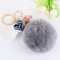 Wholesale Flower Keyrings - Newest Fur Fluffy Ball Toys Pendants with Pearl Flowers Metal Keychain Keyring Car Key Chains Handbag Charms Kid's Women's Gift