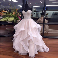 Wholesale Sexy White Exquisite Top - Exquisite Ruffles Prom Dress Sweetheart Neck Beadings Top Tulle pink quinceanera dresses Elegant Piping Floor-Length Zipper Evening Gown