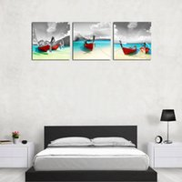 Wholesale Boats Canvas Wall Arts - 3 Panles Red Boat on Seaside Canvas Painting Seascape Picture Print Wall Art Painting with Wooden Framed For Home Decoration
