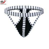 Wholesale Men S New Thong Underwear - Brand gay men underwear lot Striped sexy bikini men jockstrap Cotton g string Jock strap underwear thong man sexy new sleepwear thongs