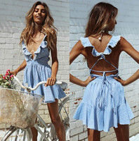 Wholesale Sexy Girls Mini Clothes - 2017 Sexy Mini Short Light Blue Women Casual Dresses New Fashion Deep V-Neck Summer Girl Clothes Criss-cross Back Causal Dresses FS1973