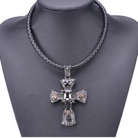 Wholesale Gem Acrylic Collar - 2017 new big gem crystal cross long leather collar choker Necklace fashion Contracted Pendant Necklace for women statement Jewelry wholesale