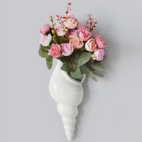 Elegant White European style Elegant Conch Shaped Ceramic Wall Hanging Planter Vase Mural For Hotel Cafe Home Decoration