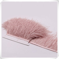 Wholesale Wholesale Ostrich Feather Trimming Fringe - 10yards lot pink white Long Ostrich Feather Plumes Fringe trim 10-15cm Feather Boa Stripe for Party Clothing Dress skrits Accessories Craft