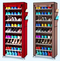 ingrosso multi rack di scarpe-Scaffale per scarpe antipolvere Multi Function Semplice e facile Storage Shoes Non tessuto Dieci Strati Storage Storage Rack Durevole 30jj J R