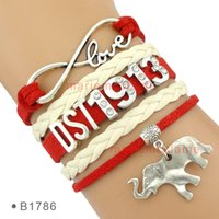 Wholesale leather cord wraps - Drop Shipping cute Elephant Charm Wrap Bracelet Infinity Love DST1913 white Wax Cord Leather Braid - Customizable