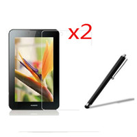 Wholesale Vogue C - Wholesale- 2x LCD Clear Screen Protector Films Protective Film Guards +1x Stylus For Huawei MediaPad 7 Vogue S7-601C U W Youth S7-701U C W