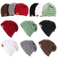 Wholesale Fitted Kid Hat - CC Beanie 11 Colors Chucky Stretch Cable Adults Kids Knit Slouch Skully Ski Hat Oversized Thick Cap OOA3088