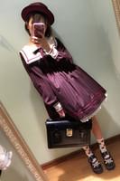 Wholesale Girls Sailor Style Dress - Wholesale- 2017 Mori girls Japanese style sailor collar long sleeve stripe bowknot dress Lolita cosplay costumes uniform vestidos
