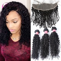 Wholesale Curly One Piece Remy Extensions - xblhair curly hair bundles human hair extensions virgin brazilian human hair weft  top lace closure lace frontal for one set