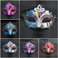 Wholesale Metal Animal Masks - Mixed Colors Mask for Wholesale Drawing Masquerade Ball Masks Luxury Party Mask For Parties Christmas Beauty Masks