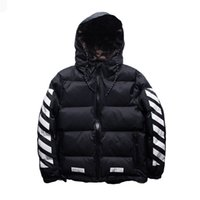Wholesale Clothing Inside Cotton - Men Winter OFF WHITE Down Jackets Hip Hop Clothing Brand Warm Down Coats Parkas Hooded Autumn Thick with Camouflage Inside