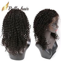 Wholesale Popular Lace Wigs - Popular Curly Wave Lace Wigs Brazilian Glueless Front Lace Wigs Dyable Natural Color Human Hair Wigs with Baby Hair Free shipping Bella Hair