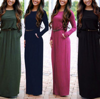 Wholesale Dresses Belted Tunics - Casual Long Sleeved O-Neck Long Bohemian Dress Round Neck Tunic Maxi Dresses With Pocket Belt