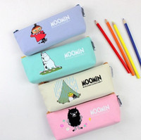 Wholesale Novelty Glasses Case - Wholesale-Novelty Cartoon Moomin Canvas Pencil Bag Stationery Storage Organizer Case dual Glasses Case School Supply Student Prize