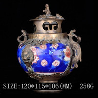 Wholesale Old China Porcelain - Exquisite Chinese Old Decorated Porcelain Inlaid with Tibetan Silver Monkey Lid Incense Burner with QianLong Mark