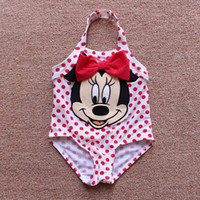 Wholesale Diapers For Kids - 3 pcs  lot 3-6M Baby Girls One pieces Kids Minnie Mouse Polka Dot Swimwear Character Bathing Suit for Children Diaper