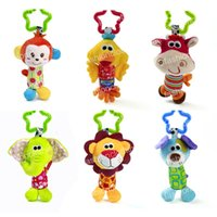 Lit de berceau Pendentif Ring Bell Toy Soft Baby Rattle Animals Chien Elephant Monkey Lion Early Educational Doll
