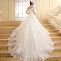 Wholesale Wedding Dress Back Tail - Cathedral Tail 2016 Luxuries Ball Wedding Dresses Off shoulder Short Sleeve Lace Appliques Vestido De Noiva women Wedding Gown