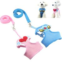 Wholesale Puppy Collar Leash Set - Two-piece set Pet dog Nylon Mesh Harness and Leashes Vest Collar Small Medium-sized Dog Supplies Puppy Comfort Harness