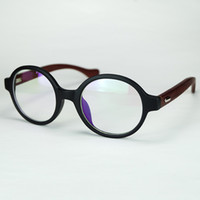 Wholesale Cheap Wood Rounds - Nerd Round Frame Eyeglasses With Clear Lenses Natural Wood Temples Retro Design For Women And Men Cheap Wholesale Glasses